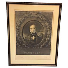 Antique Engraving of Henry Clay in Frame NY Engraved by William Lane Painted by J Nagle 1842