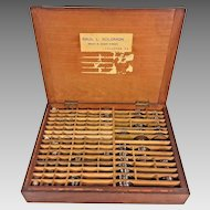 Antique Opticians Case Mahogany Wood & 100s of Lenses Many Made by VTF of France Belonged to Saul Solomon Lancaster PA Optician