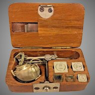 Antique Small Finger Scale in Wood Case Unknown Maker 9 Sheet Weights