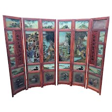 Vintage Oriental Privacy Screen w/ Reverse Painted Glass 6 Panels Chinese