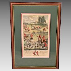 Richard Blome Hunting Engraving Framed Matted Late 1600s End of Chase of Stagg # 4/4
