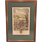 Richard Blome Hunting Engraving Framed Matted Late 1600s Unearthing the Fox (1 of 4)