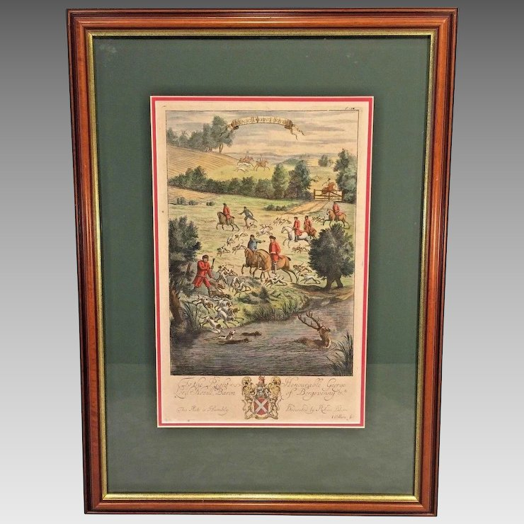 Richard Blome Hunting Engraving Framed Matted Late 1600s Stagg ...