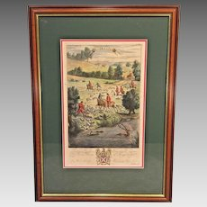 Richard Blome Hunting Engraving Framed Matted Late 1600s Stagg Takeing Soyle (2 of 4)