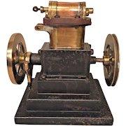 Antique 2 Cylinder Steam Engine Motor on Cast Iron Base No Maker Name