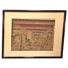 "Pair of Antique Colored Asian Wood Block Prints by Furuyama Moromasa 1700s - 1 is ""A House of Pleasure in Yoshiwara"" in Frames Matted"