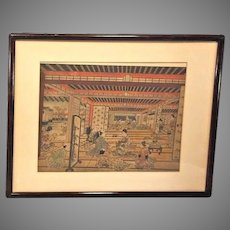 """Pair of Antique Colored Asian Wood Block Prints by Furuyama Moromasa 1700s - 1 is """"A House of Pleasure in Yoshiwara"""" in Frames Matted"""