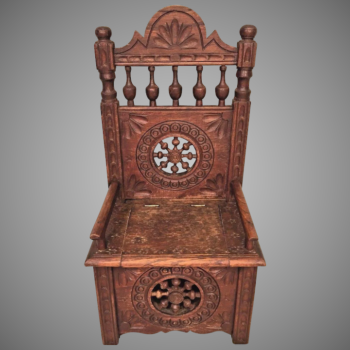 Antique Wooden Chairs >> Vintage Carved Wooden Chair W Lift Seat Seal Of Maker On Piece