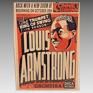 Vintage Louis Armstrong Performance Poster in Frame October 1935 Connie's Inn NYC Reproduction from 2001