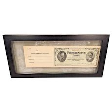1912 Progressive Party Teddy Roosevelt & Hooker Membership Certificate w/ Attached Perforated Slip
