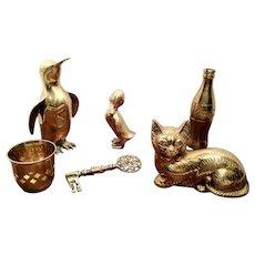 6 Brass Figures (Coke Bottle, Cat, Penguin, Duck, Key and Cup)