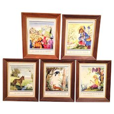 Jean A. Mercier - Fairy Tale Fables,  5 Prints in Frames