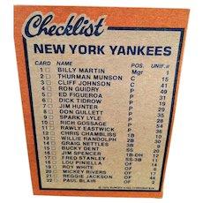 1978 Burger King Baseball Cards -  12 Yankees, Topps