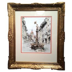 Colored Etching by Paul Geissler (German Artist)  w/ Gold Wood Frame