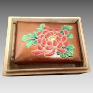 Vintage Floral Enameled Japanese Copper Box - Mark of Jubei Ando - Meiji Period