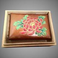 Vintage Floral Enameled Japanese Copper Box - Mark of Jubei Ando - Meiji Period