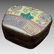 Vintage Snuff Box with Cloisonne Face to Lid and Metal Box