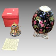 Vintage Cloisonne Bell and Porcelain Egg
