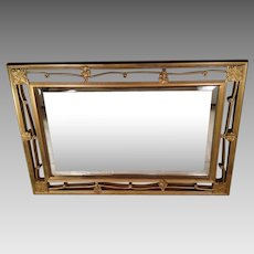 Vintage Beveled Glass Mirror in Open Work Gilded Wood Frame