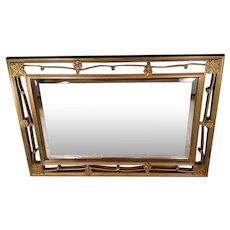 Vintage Beveled Glass Mirror in Open Work Gilded Wood Frame
