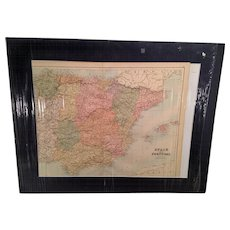 1871 Hand Colored Map of Spain and Portugal by John Bartholomew Publisher was A&C Black