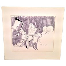 Orchestra Pencil and Ink Painting Signed by Ethel Lunenfeld Philly PA