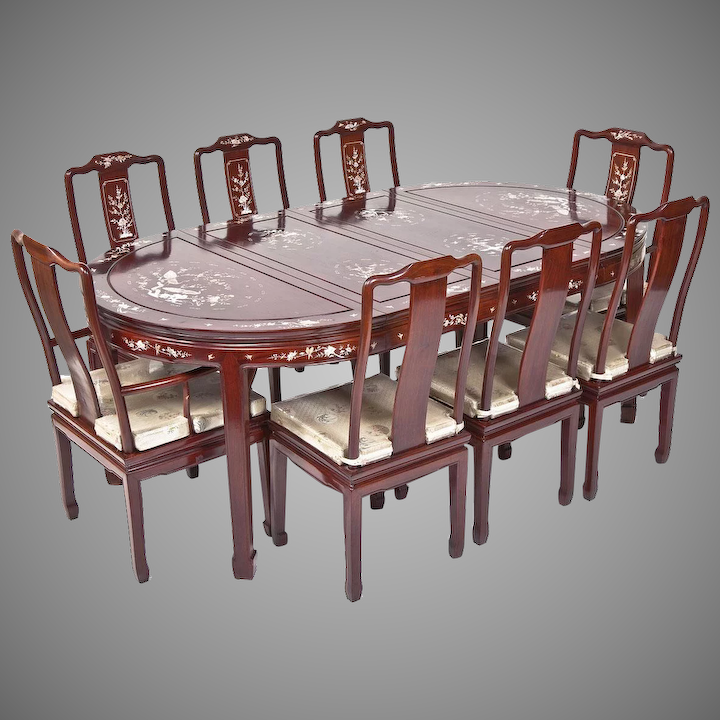 Vintage Chinese Mother Of Pearl Inlaid R Wood Dining Set 2 Arm Chairs Timelesstokensde Ruby Lane