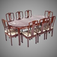 "Vintage Chinese Mother of Pearl Inlaid R-Wood Dining Set 2 Arm Chairs & 6 Side Chairs 2 - 18"" Leaves"