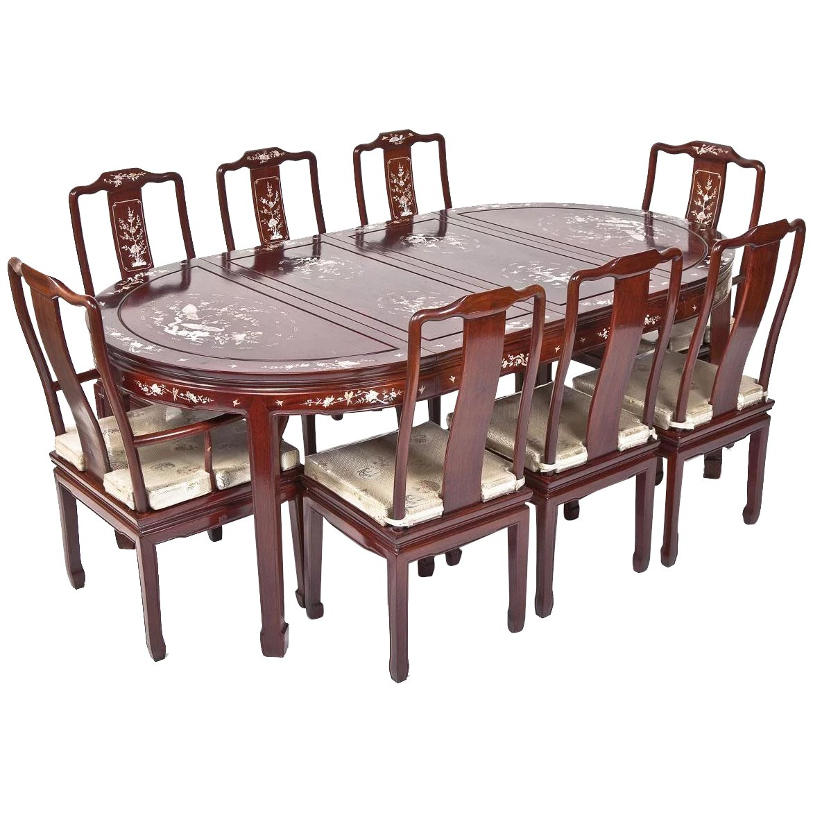Vintage Chinese Mother of Pearl Inlaid R-Wood Dining Set 2 Arm Chairs & 6  Side Chairs 2 - 18\