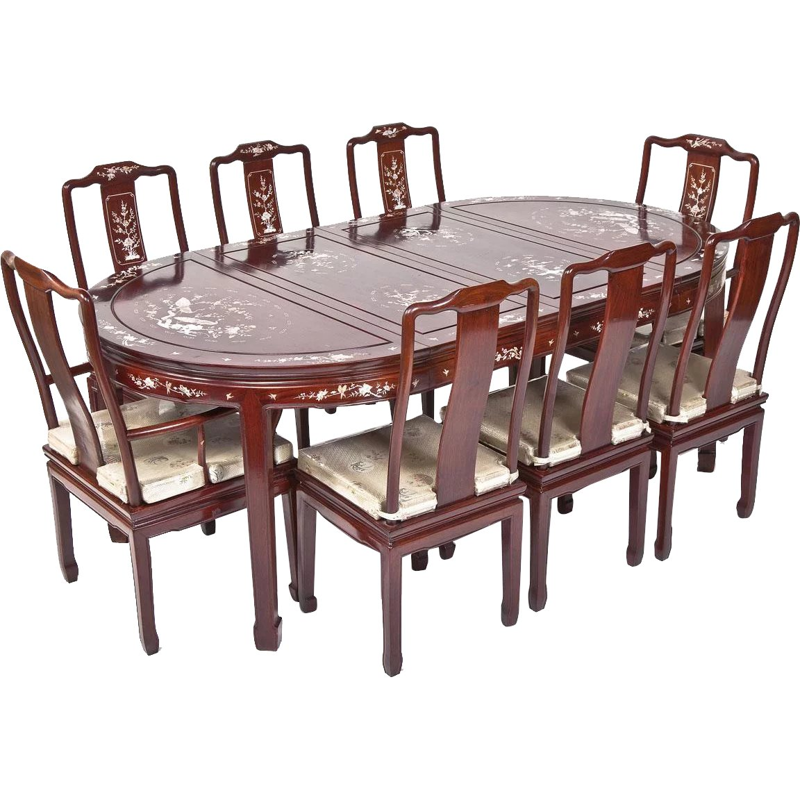 Vintage Chinese Mother Of Pearl Inlaid R Wood Dining Set 2 Arm Chairs TimelessTokensDE