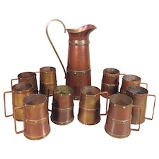 Vintage Hammered Copper and Brass Pitcher and 10 Mugs Arts and Crafts