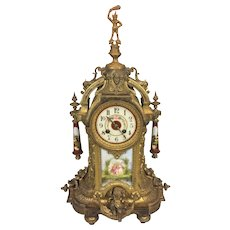 Antique AD Mougin Ormulu Rococo Style Mantel Clock Runs and Strikes French Made