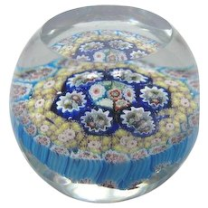 Vintage 1950s Murano Glass Concentric Milifiore Paperweight Great Colors and Detailing