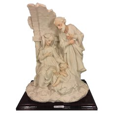 Vtg Retired Giuseppe Armani Sculpture of the Christ Family on Wood Base Signed 1983 Florence Italy