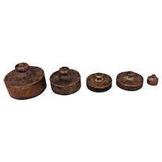 5 Antique Brass Weights Various Sizes 40 grains & 20 Grams to 100 Grams
