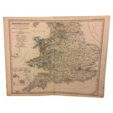 Antique Great Britain Stielers 19th Century Copper Map Engraving (In German) 1869 Plate No 15