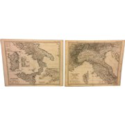 Antique Italy Stielers 19th Century Copper Map Engraving (In German) 1869 Plates 34a & 34b