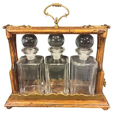 Antique Italian Tantalus Set with Lock Great Distressed Wood Working Look w/ Brass Trim
