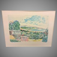 """Jean Claude Picot """"Bay of Cannes"""" Color Limited Edition Lithograph (9 of 250) Pencil Signed Framed and Matted 1988"""