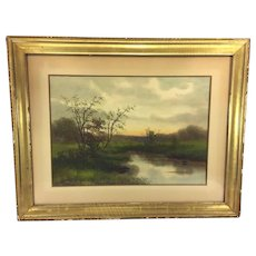 Antique G Drisler Watercolor Landscape Scene of A Creek in Spring Framed Well Listed NY Artist  Item Description