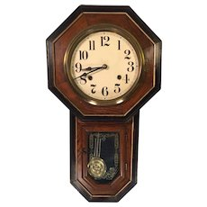 Antique Wall Regulator Clock Great Trim Design Solid Wood Oak Case Runs & Strikes