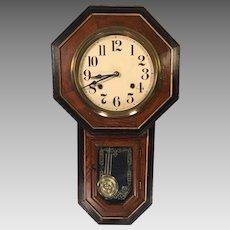 Antique Wall Regulator Clock Great Trim Design Solid Wood Oak Case Runs & Strikes