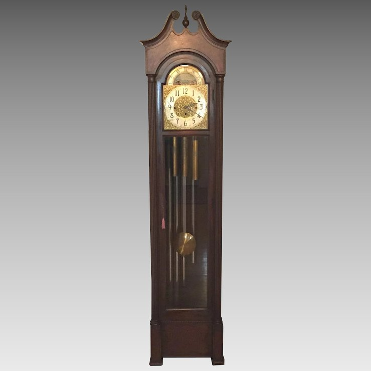Ant Colonial Grandfather Clock Winterhalder Hofmeier Mvmt 5 Chime And Strike Running Beautiful