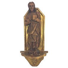 Vintage Carved Wood Saint Holding Book and Bird with a Gold Gilt Wood Shelf