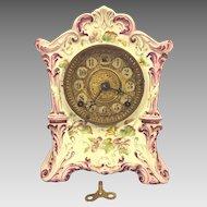 Antique Ansonia Porcelain Case Clock #415 Not Running Pink & White w/ Flowering