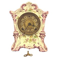 Antique Ansonia Porcelain Case Clock #415 Not Running Pink & White w/ Flowering
