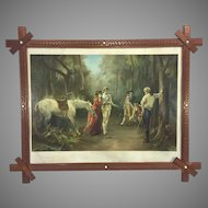 Victorian 1891 Tobacco Advertising Chromolithograph by Laslett J Pott Twixt Love and Honor  Great Tramp Art Frame