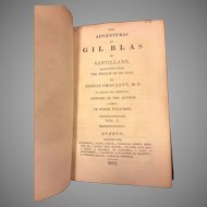 Antique Books 4 Volume Set The Adventures of Gil Blas of Santillane by Tobias Smollett 1812 Green Leather Covers