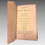 Antique Books 4 Volume Set The Adventures of Gil Blas of Santillane by Tobias Smollett 1812 Green Leather Covers