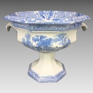 Vintage Transfer Compote with Blue Detailing on White Venetian Scene No Makers Mark